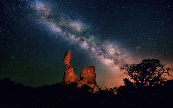 млечный, путь, небо, звезды, ночь, пустыня, каньон,