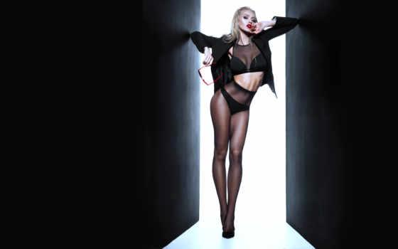 blonde, девушка, dark, чулок, рисунок, leg
