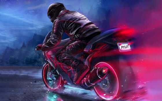 мотоцикл, ava, аватар, color, led, drawing, мужчина