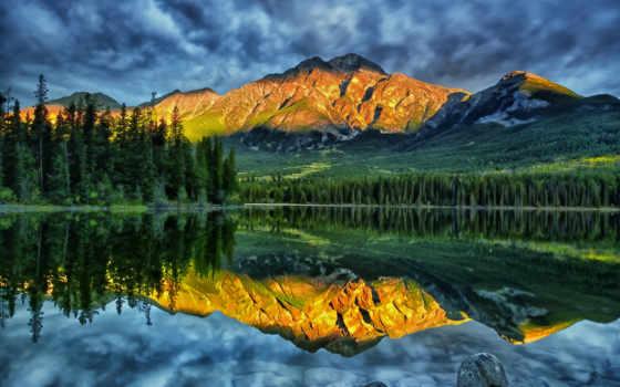 pyramid, горы, canada, jasper, озеро, alberta, national, park, отражение, peak, пейзаж, кнопкой, правой, мыши, ней, выберите, картинку,