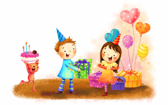 нарисованные, дети, медвежонок, мальчик, девочка, торт, свечи, день рождения, шарики, радость, конус