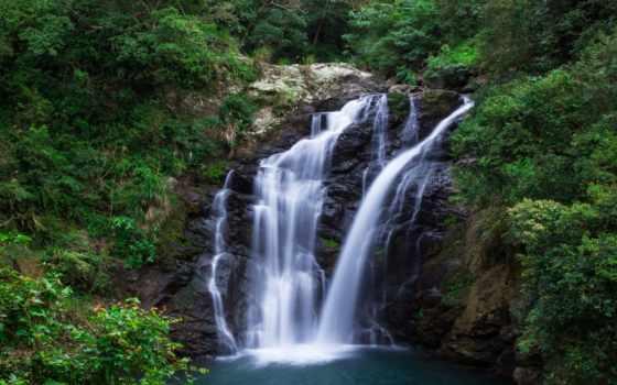 водопад, лес, desktop