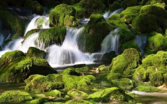 водопад, landscape, ручей