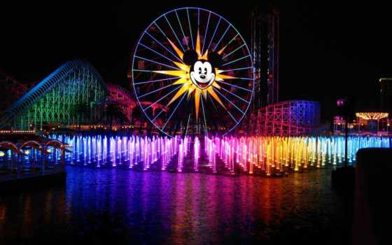 disneyland, фонтаны, mickey, цветными,