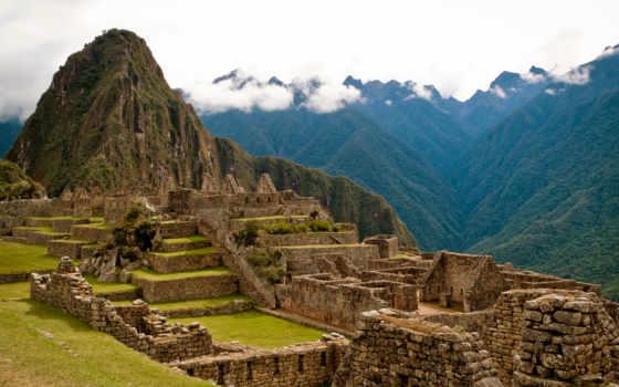 machu, перуанский, picchu, красоты, мировые, город, разруха, монитора, часть, природа,