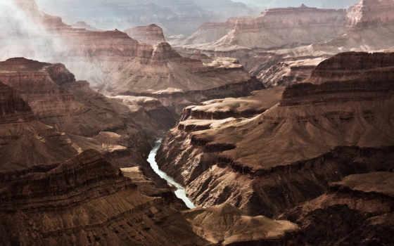 каньон, гранд, скалы, arizona, дымка, вечер,