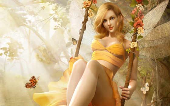 девушка, демон, бабочка, спящая, fantasy, фея, качели, качелях, эльфийка, воительница,