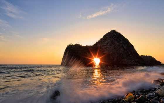 закат, rock, izu, senganmon, tags, rising, seascape, koshichiba, волна