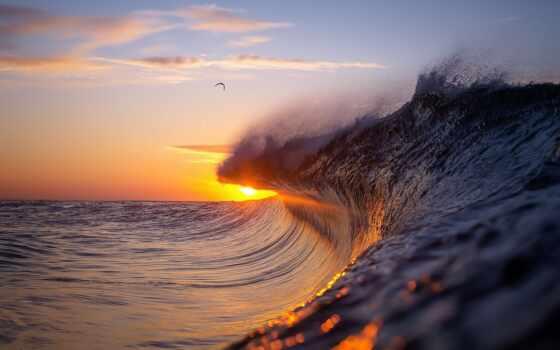 волна, закат, ocean, water, красивый, море, stokovyi