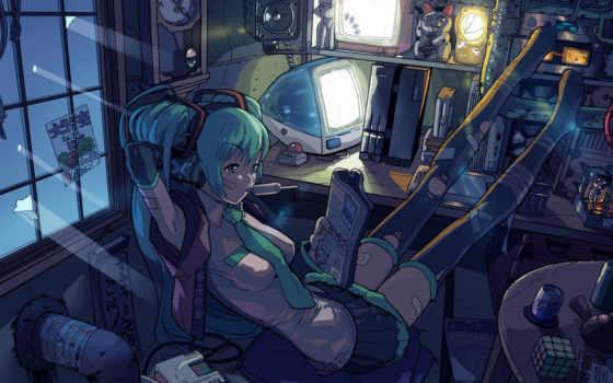 картинка, computer, anime, vocaloid, miku, hatsune, girl, hentai, konachan, comic, bored, barreiro, tie, yasumori,