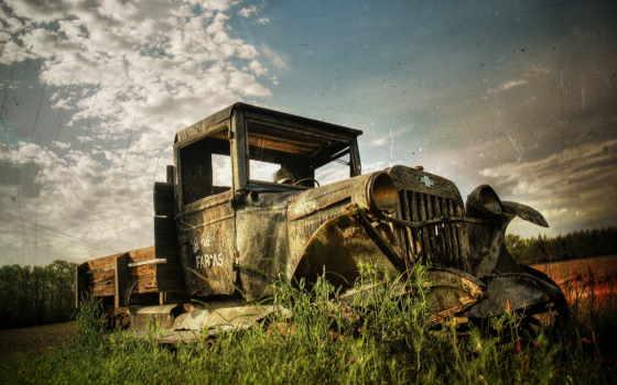 truck, старый, ржавый