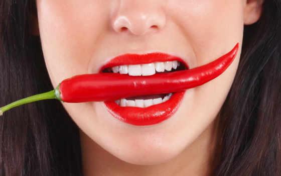девушки, красными, губами