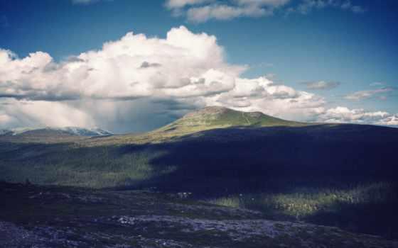 , горы, небо, облака, поле
