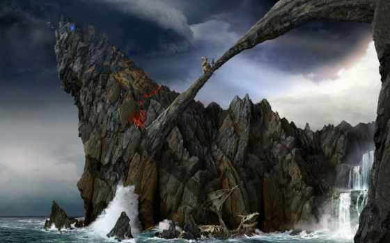 скалы, водопад, waves, пенка, скале, бой, am, фотообои, castle,