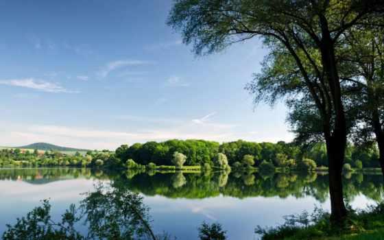 trees, озеро, summer, отражение, река, осень, reservoir, лес,
