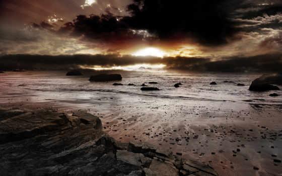 со, закат, красивые, большие, dark, красивый, разных, заката, морем,