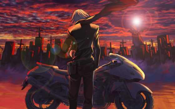 кладбище, мотоцикл, art, парень, kikira, шарф, закат, мотоциклы, sun, кресты,