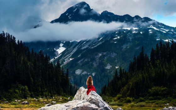 горы, девушка, lizzy, смотрит, gadd, silent, mountains, миг, women,