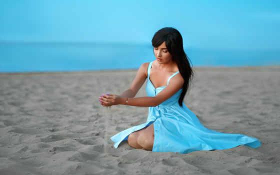 sitting, women, сзади, платье, black, positive, пляж, день