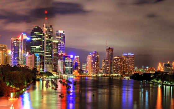 , wonderful, brisbane, , night, hdr, world, river, city,