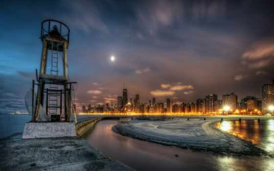 чикаго, город, ночной
