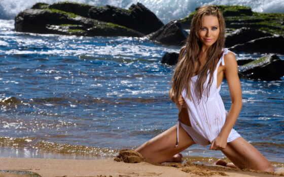 девушка, море, скалы