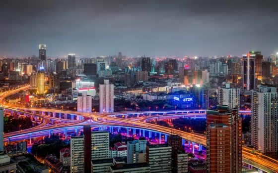 shanghai, china, город, ночь, huangpu, панорама, хуанпу,