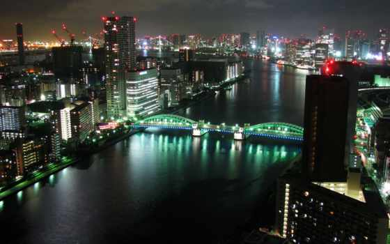 река, tokyo, sumida, япония, dual, площадь, cruise, монитор,