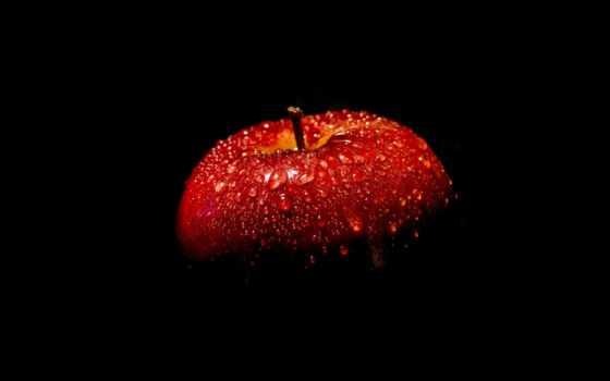 ecran, fond, rouge, fonds, pomme, fruits,