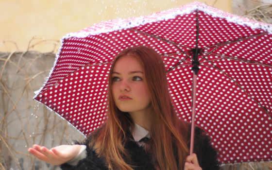 зонтик, девушка, дождь