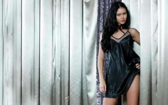 девушка, модель, brunette, curtains, macy,