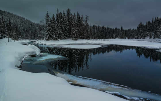 winter, снег, река, сугробы, ночь, природа, лес, water, trees, небо, озеро,