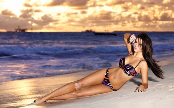 девушка, пляж, monika, pietrasinska, devushki, модель, купальник, пляже, waves, ocean,