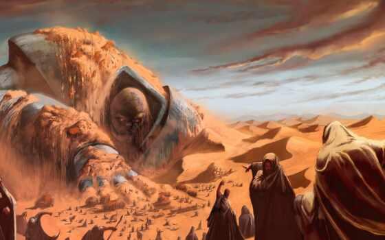 пустыня, monstr, песок, небо, человек, песок, sun, game, искусство, videoigra, chapter