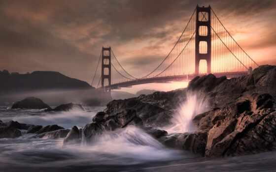 мост, золотистый, gate, san, francisco, плакат, море, art, волна, ночь