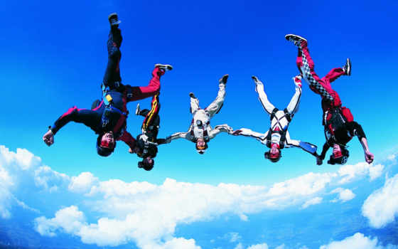 картинка, спорт, мнгновение, динамика, extreme, sports, download, небе, впятером, free,