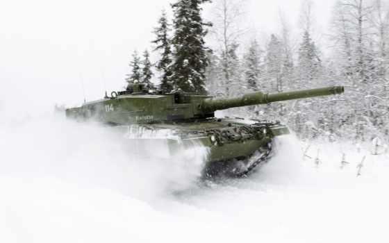 танк, леопард, combat, зима,