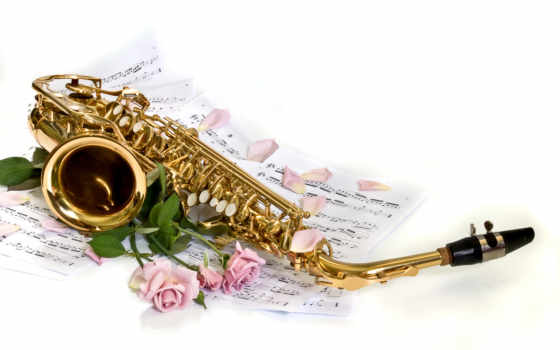 саксофон, розы, лепестки