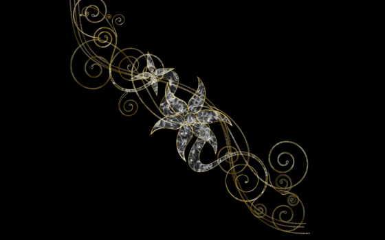 узоры, абстракции, pattern, узором, fone, черном, красочные, банка,
