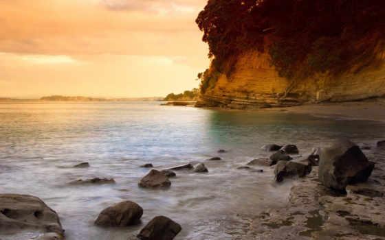 пляж, закат, берег