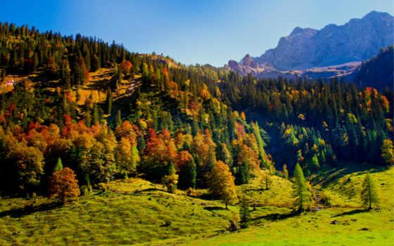 горы, trees, холмы, austrian, карвендель, небо, tyrol, осень, природа,