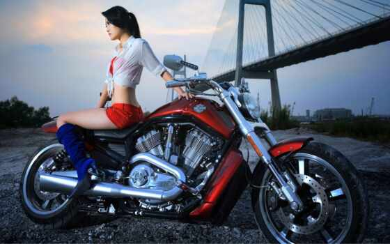 мотоцикл, девушка, harley, red, davidson