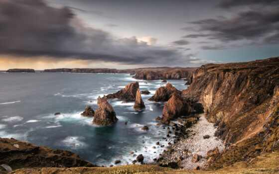 rock, море, permission, фон, посещение, pour, побережье, закат, картинка, mangersta, природа