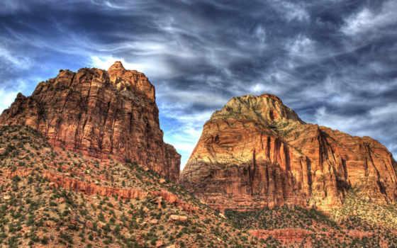 کوه, zion, mountain, изображение, природа,