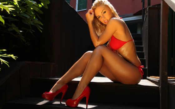 orsy, bikini, czerwonym