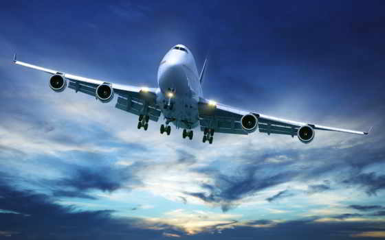 самолёт, небе, ночном