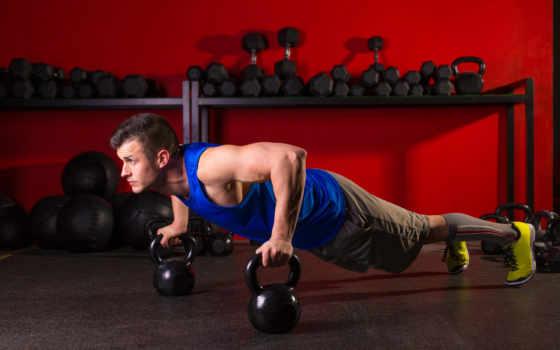 спорт, парень, тренировочный, упражнение, отжимания, гири,