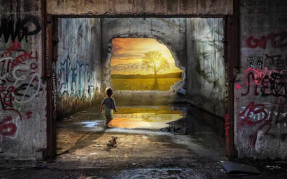 graffiti, architecture, стена, free, abandoned, фото, рейки, building, pixel, обезьяна, gods,