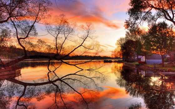 закат, дерево, природа, побережье, отражение, landscape, река, небо, sun, озеро