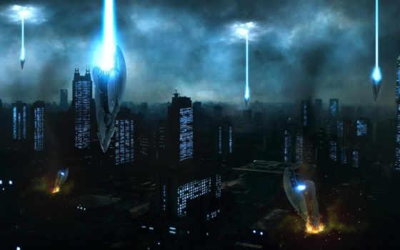 invasion, город, art, инопланетные, корабли, здания, облака, alien,